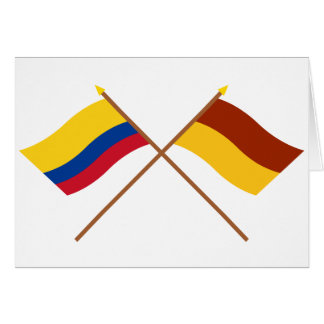 Colombia and Tolima Crossed Flags Greeting Card