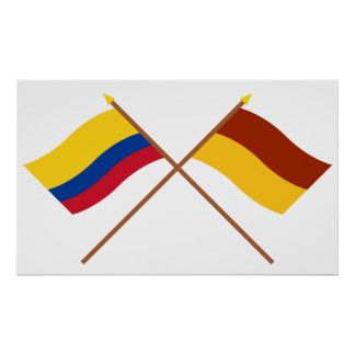Colombia and Tolima Crossed Flags Print
