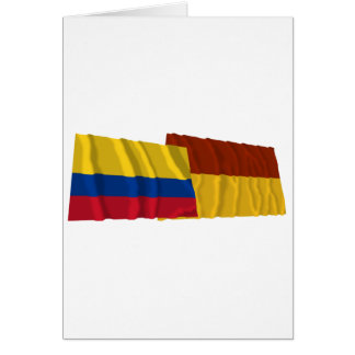 Colombia and Tolima Waving Flags Greeting Card