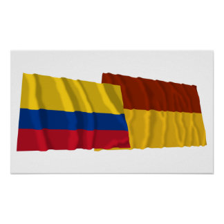 Colombia and Tolima Waving Flags Print