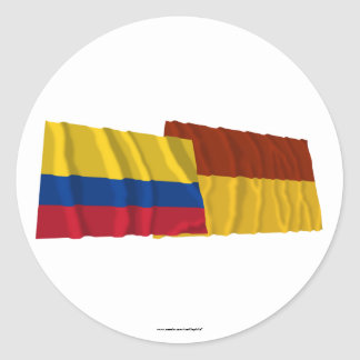 Colombia and Tolima Waving Flags Sticker