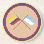 Colombia and Valle del Cauca Crossed Flags Beverage Coaster