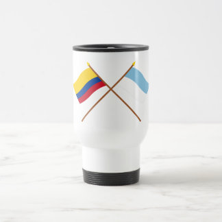 Colombia and Valle del Cauca Crossed Flags 15 Oz Stainless Steel Travel Mug