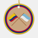 Colombia and Valle del Cauca Crossed Flags Christmas Tree Ornament