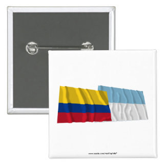 Colombia and Valle del Cauca Waving Flags Pinback Button