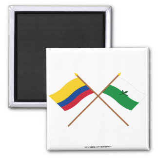 Colombia and Vaupés Crossed Flags Fridge Magnet