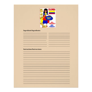 Colombia blank meat recipe cards