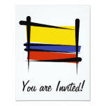 "Colombia Brush Flag 4.25"" X 5.5"" Invitation Card"