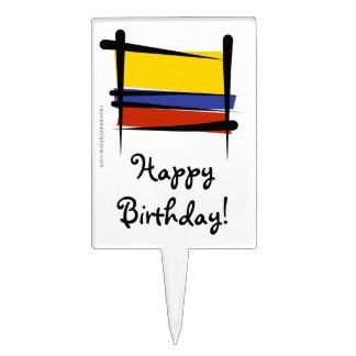 Colombia Brush Flag Cake Topper