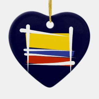 Colombia Brush Flag Ceramic Ornament