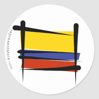 Colombia Brush Flag Classic Round Sticker