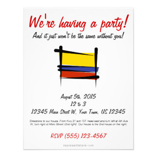 Colombia Brush Flag Personalized Invite