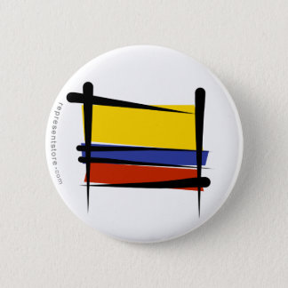 Colombia Brush Flag Pinback Button