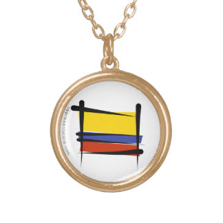 Colombia Brush Flag Round Pendant Necklace