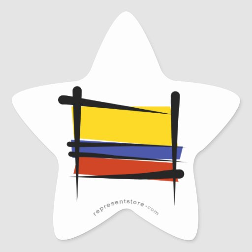Colombia Brush Flag Star Stickers