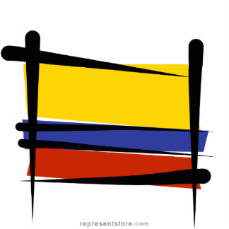 Colombia Brush Flag Statuette