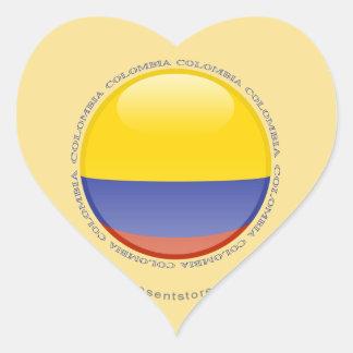 Colombia Bubble Flag Heart Sticker