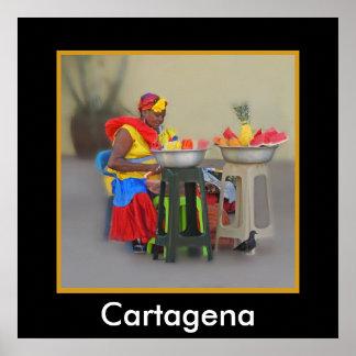 Colombia - Caribbean Fruit Vendor Poster