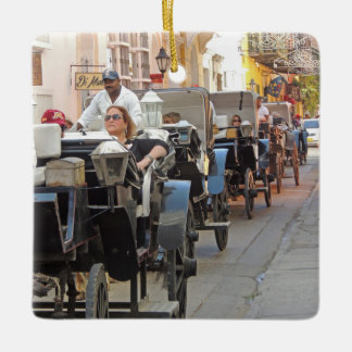 Colombia-Carriage Ride in Cartagena Ceramic Ornament