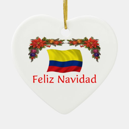 Colombia christmas double sided heart ceramic christmas ornament