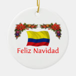 Colombia Christmas Double-Sided Ceramic Round Christmas Ornament