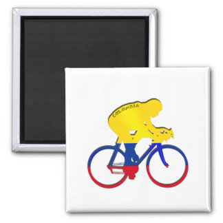 Colombia cyclist Colombian flag bicycle gear 2 Inch Square Magnet
