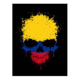 Colombia Dripping Splatter Skull Postcard