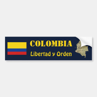 Colombia Flag and Map Bumper Sticker