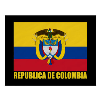 Colombia Flag & COA Poster