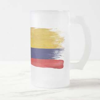 Colombia Flag Frosted Glass Beer Mug