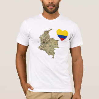 Colombia Flag Heart and Map T-Shirt