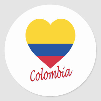 Colombia Flag Heart Classic Round Sticker