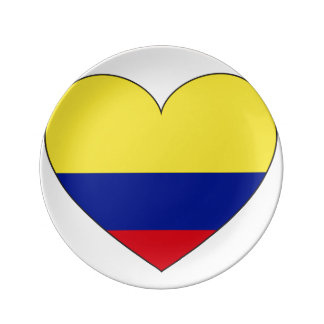 Colombia Flag Heart Dinner Plate