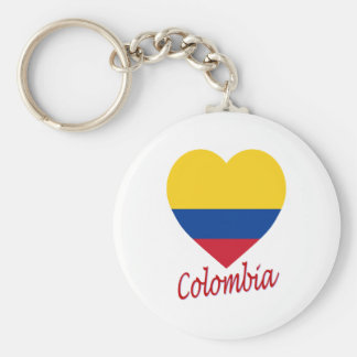 Colombia Flag Heart Key Chains