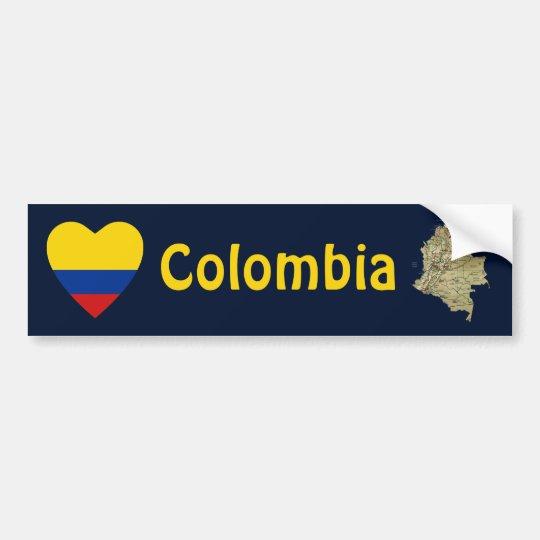 Colombia Flag Heart + Map Bumper Sticker
