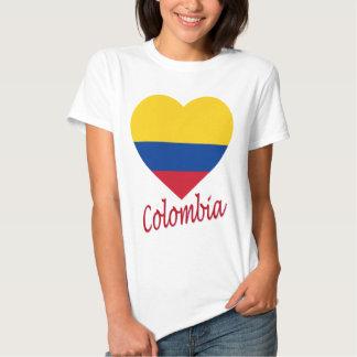 Colombia Flag Heart Tee Shirt