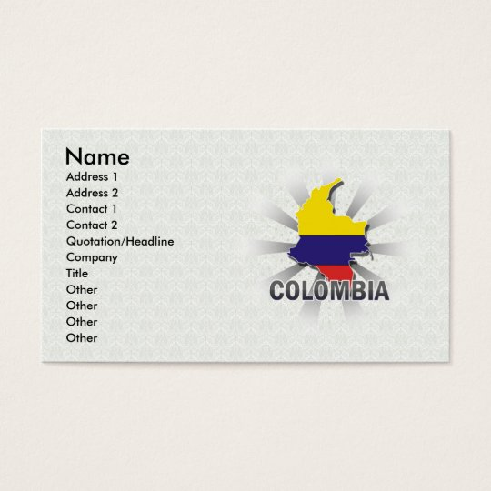Colombia Flag Map 2.0 Business Card