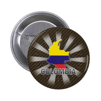 Colombia Flag Map 2.0 Pinback Buttons
