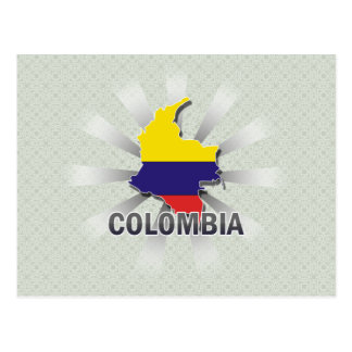 Colombia Flag Map 2.0 Postcard