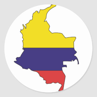 Colombia flag map classic round sticker