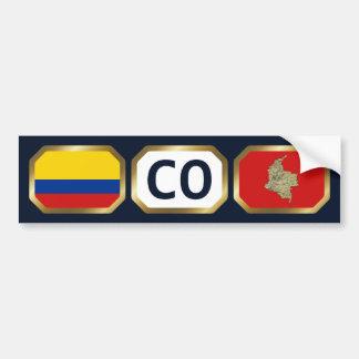 Colombia Flag Map Code Bumper Sticker Car Bumper Sticker