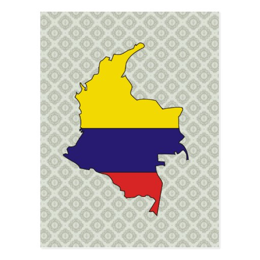 Colombia Flag Map full size Post Card