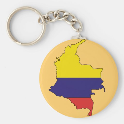 Colombia flag map keychain