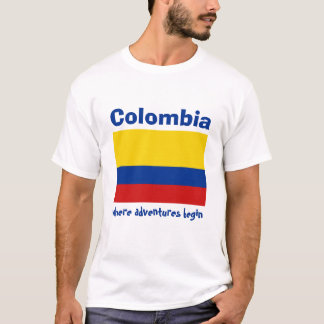 Colombia Flag + Map + Text T-Shirt