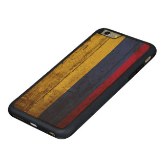 Colombia Flag on Old Wood Grain Carved Maple iPhone 6 Plus Bumper Case