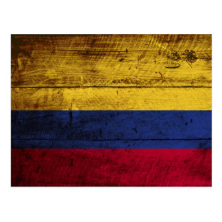 Colombia Flag on Old Wood Grain Postcard