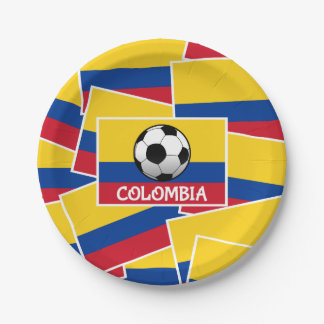 Colombia Football Paper Plate
