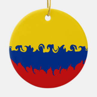 Colombia Gnarly Flag Double-Sided Ceramic Round Christmas Ornament