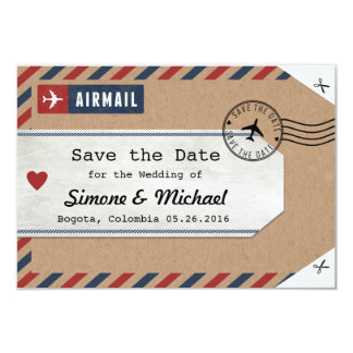 Colombia Map Airmail Luggage Tag Save the Date Card