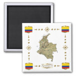 Colombia Map + Flags Magnet